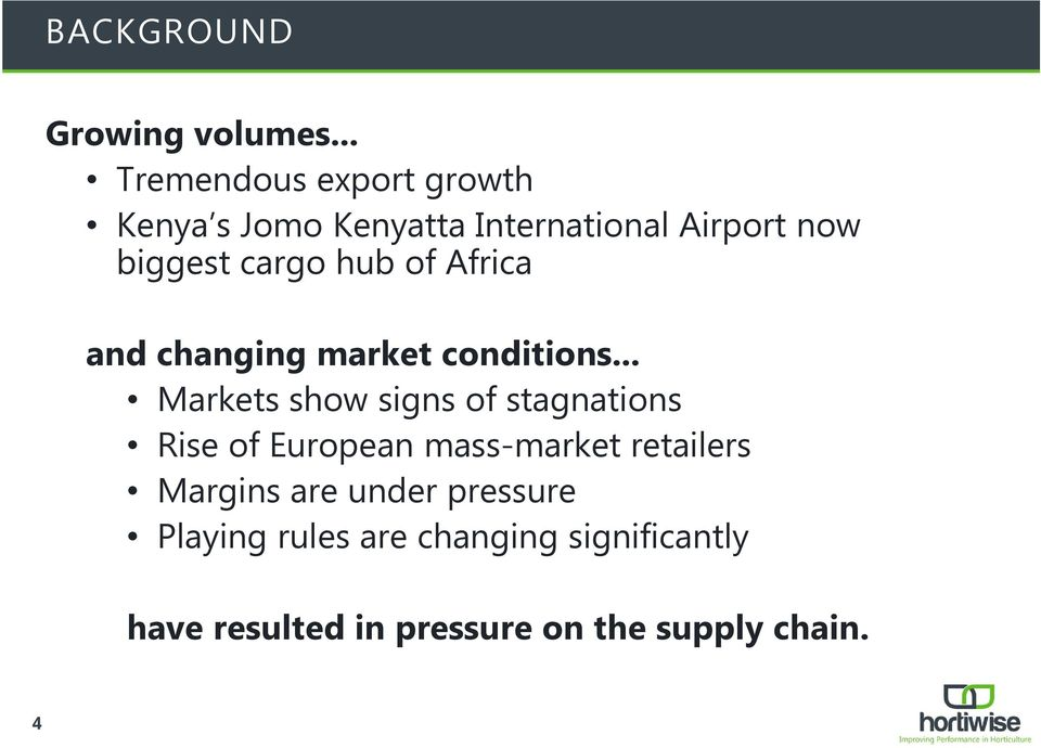 cargo hub of Africa and changing market conditions.