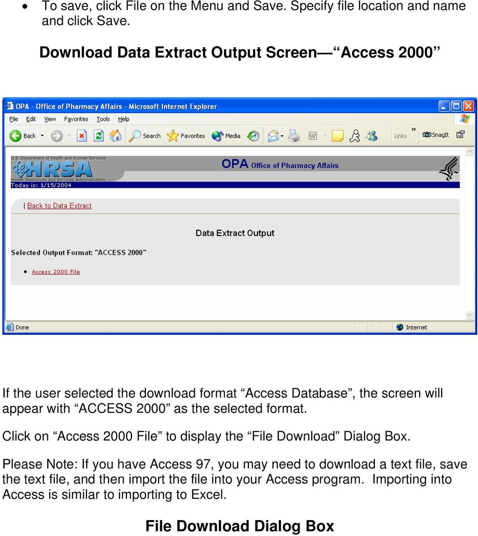 ACCESS 2000 as the selected format. Click on Access 2000 File to display the File Download Dialog Box.