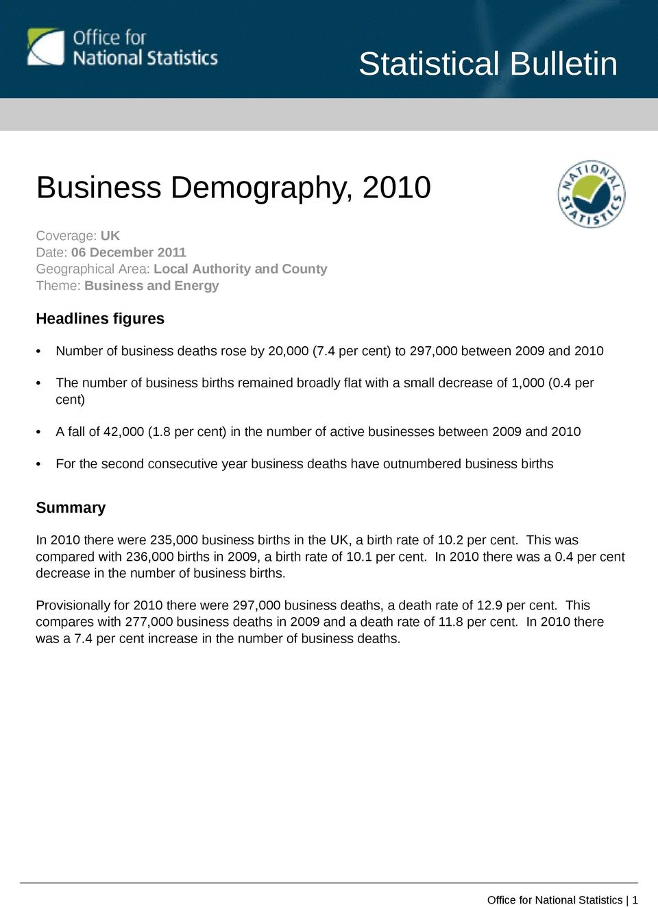 8 per in the number of active businesses between 2009 and 2010 For the second consecutive year business deaths have outnumbered business births Summary In 2010 there were 235,000 business births in