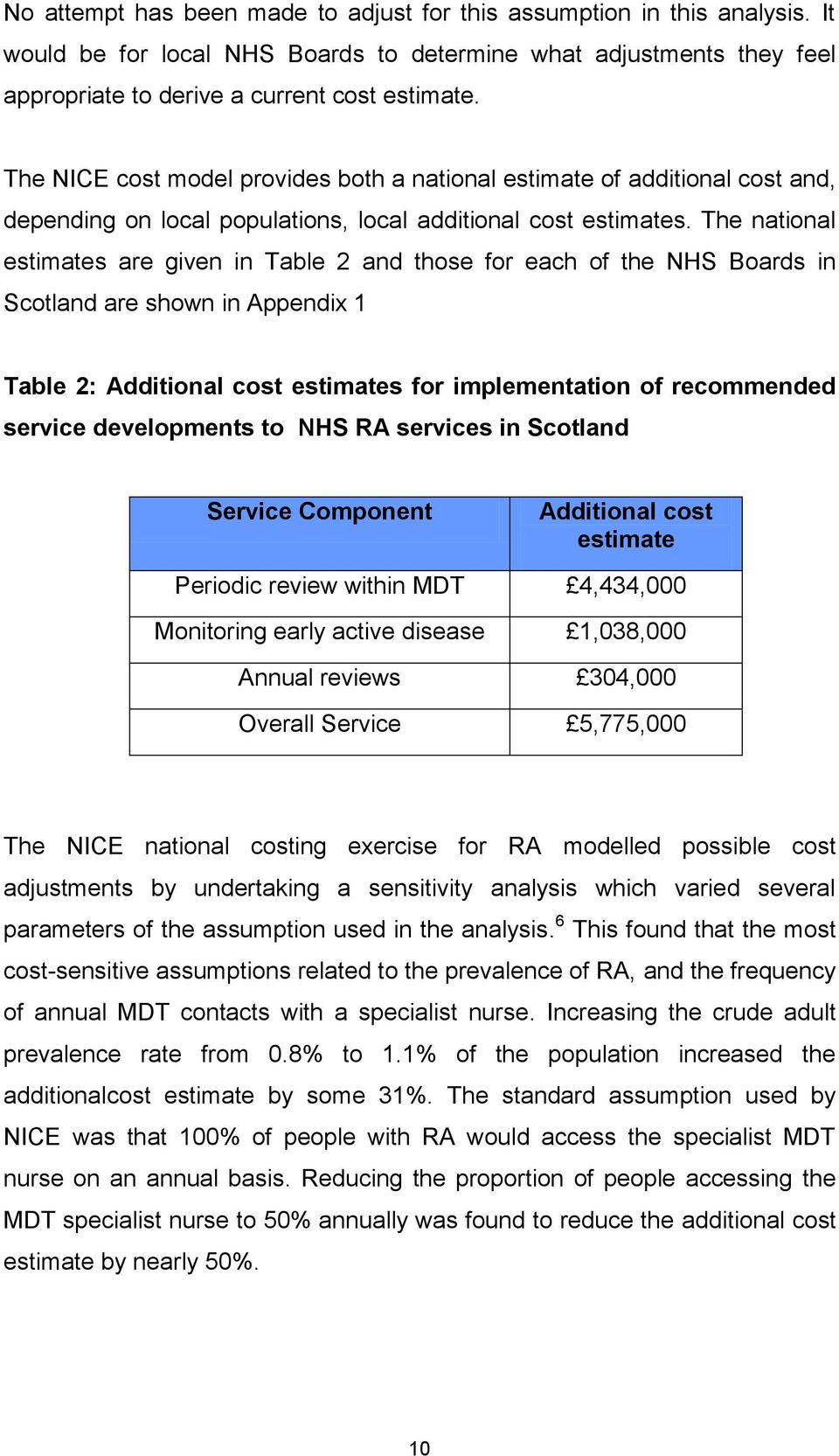 The national estimates are given in Table 2 and those for each of the NHS Boards in Scotland are shown in Appendix 1 Table 2: Additional cost estimates for implementation of recommended service