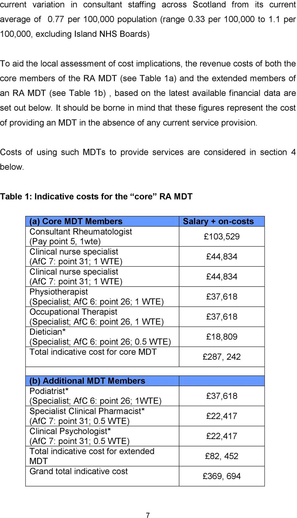 MDT (see Table 1b), based on the latest available financial data are set out below.