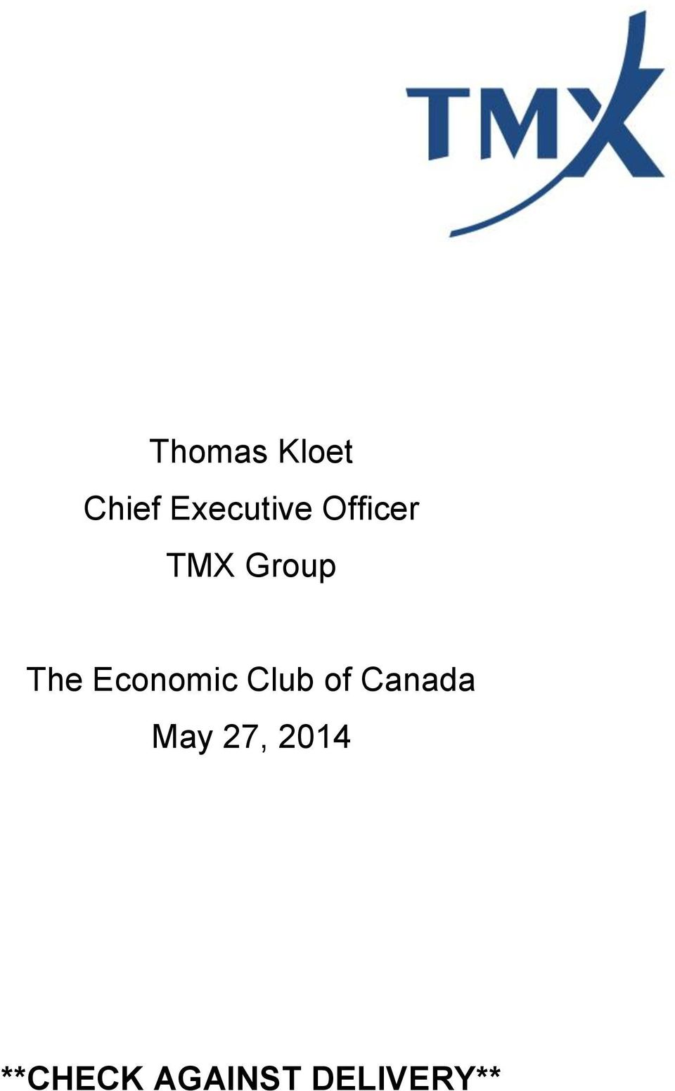 Economic Club of Canada May