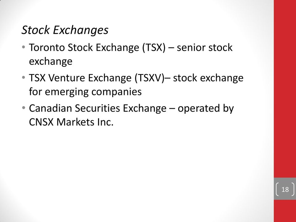 (TSXV) stock exchange for emerging companies