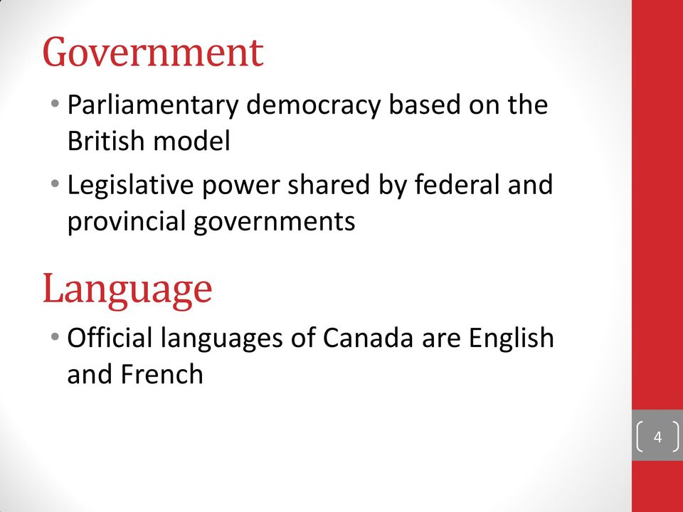 federal and provincial governments Language