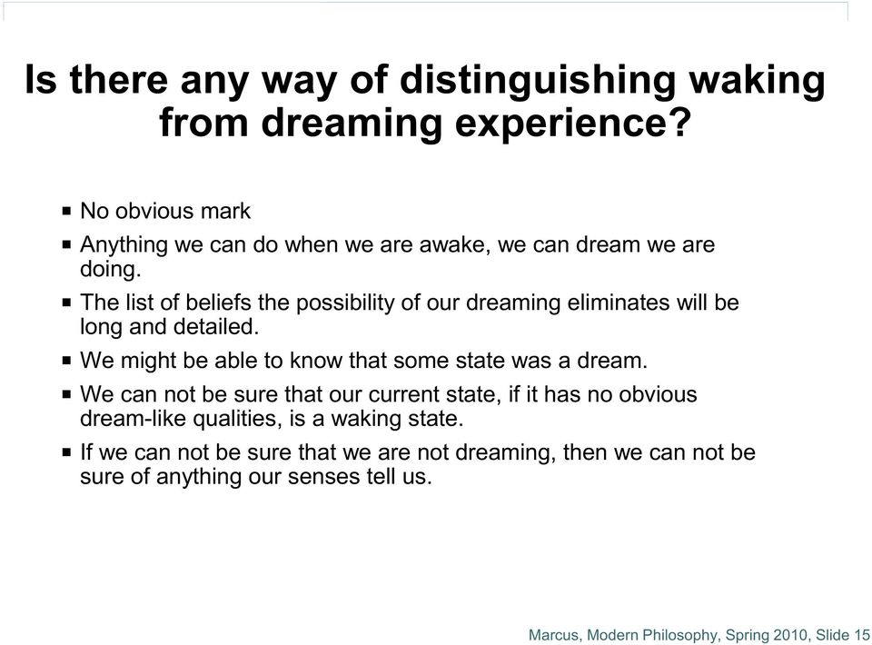 P The list of beliefs the possibility of our dreaming eliminates will be long and detailed.