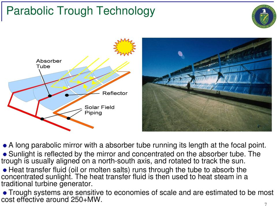 The trough is usually aligned on a north-south axis, and rotated to track the sun.