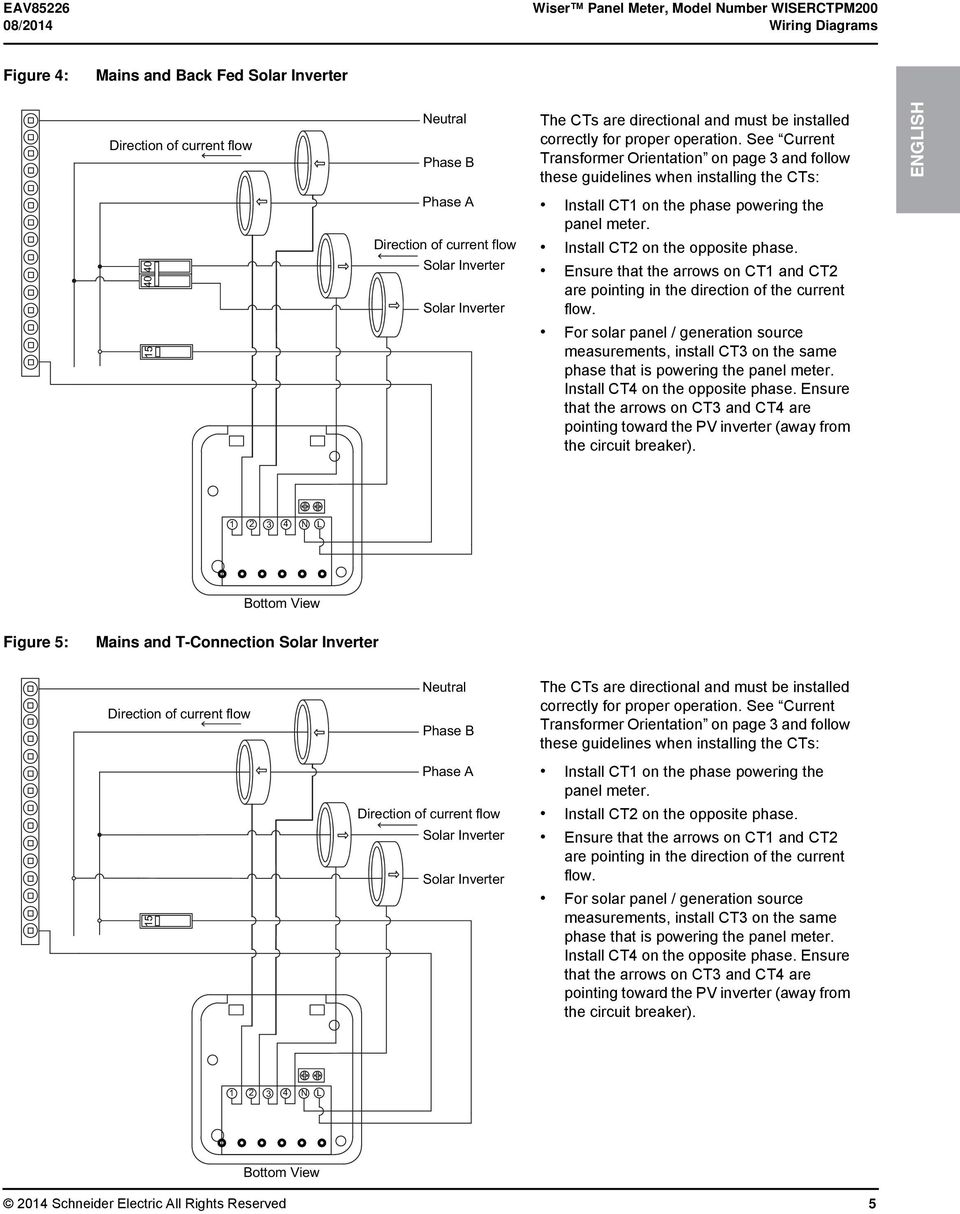 See Current Transformer Orientation on page 3 and follow these guidelines when installing the CTs: 40 40 15 Phase A Solar Inverter Solar Inverter Install CT1 on the phase powering the panel meter.