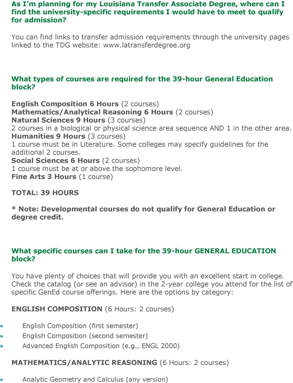 org What types of courses are required for the 39-hour General Education block?