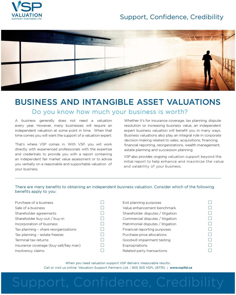 With VSP, you will work directly with experienced professionals with the expertise and credentials to provide you with a report containing an independent fair market value assessment or to advise you
