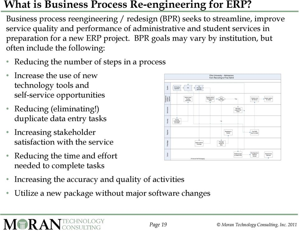 BPR goals may vary by institution, but often include the following: Reducing the number of steps in a process Increase the use of new technology tools and self-service opportunities Reducing