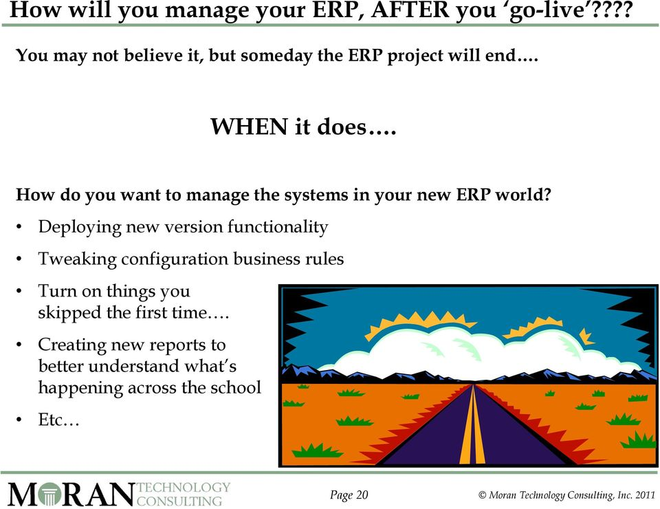 How do you want to manage the systems in your new ERP world?