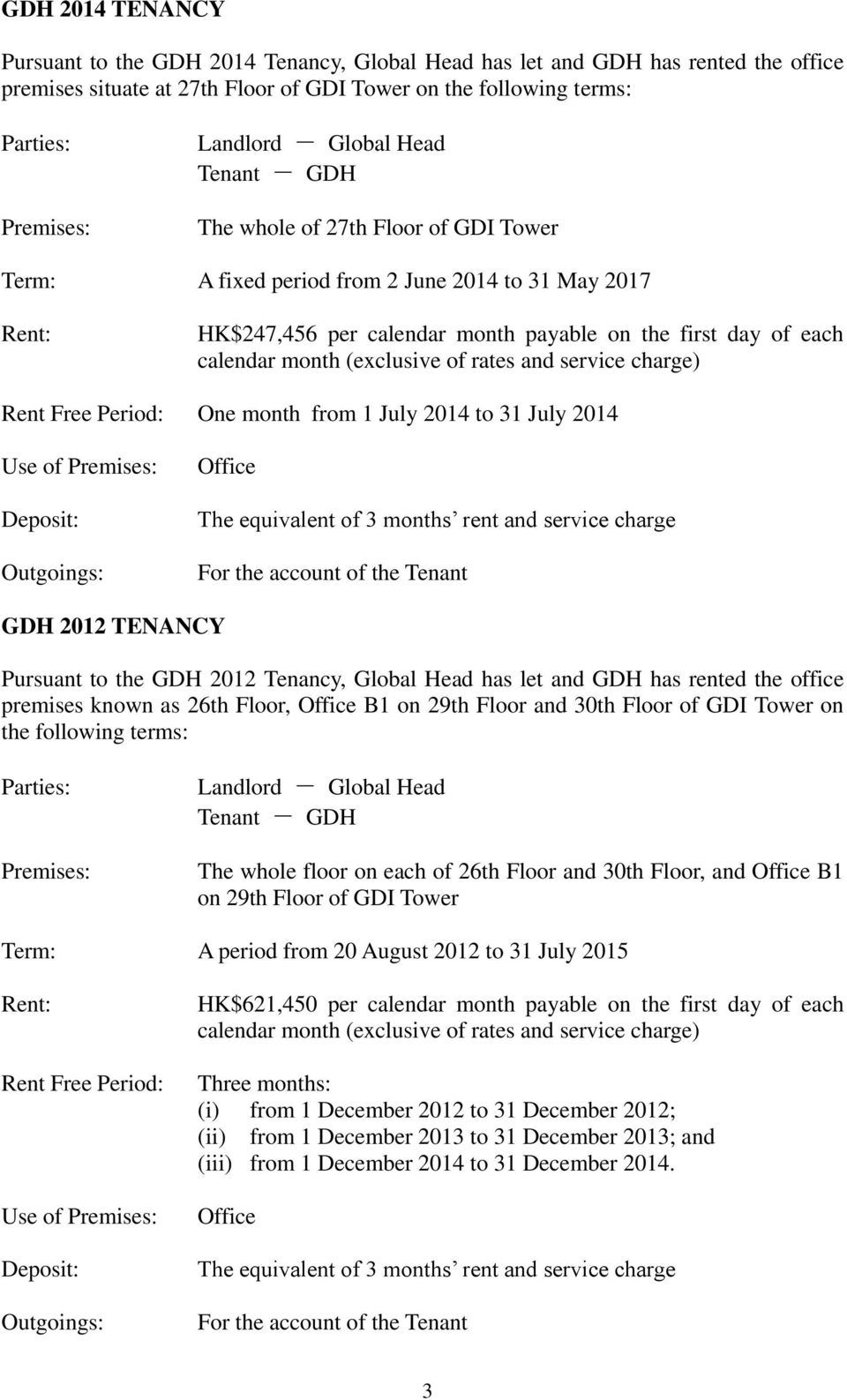 2014 to 31 July 2014 GDH 2012 TENANCY Pursuant to the GDH 2012 Tenancy, Global Head has let and GDH has rented the office premises known as 26th Floor, B1 on 29th Floor and 30th Floor of GDI Tower on