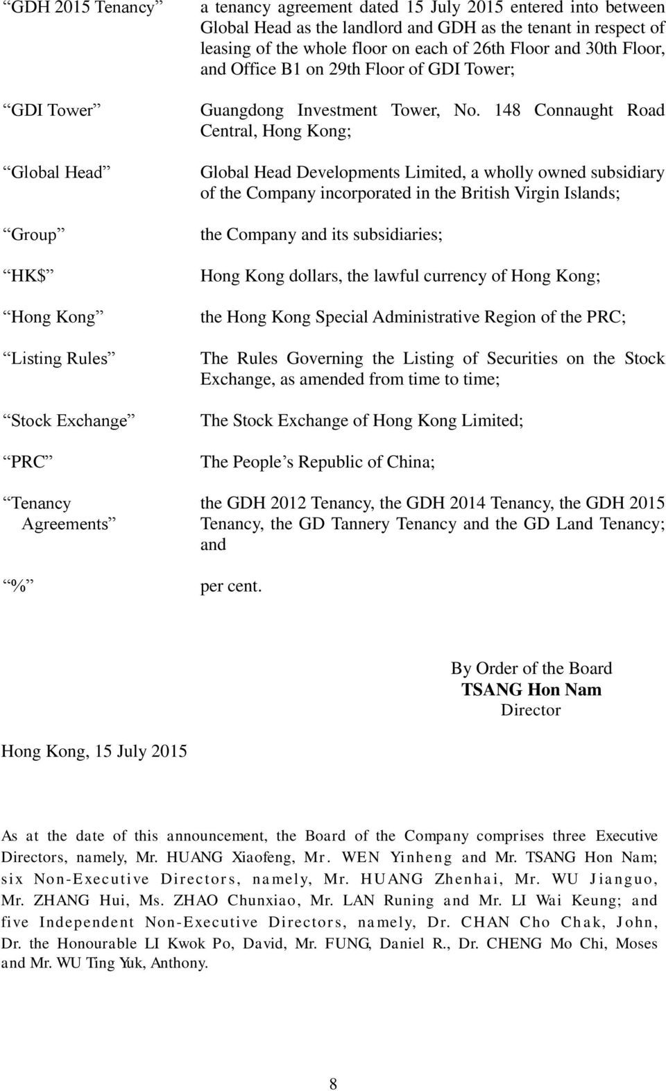 148 Connaught Road Central, Hong Kong; Global Head Developments Limited, a wholly owned subsidiary of the Company incorporated in the British Virgin Islands; the Company and its subsidiaries; Hong
