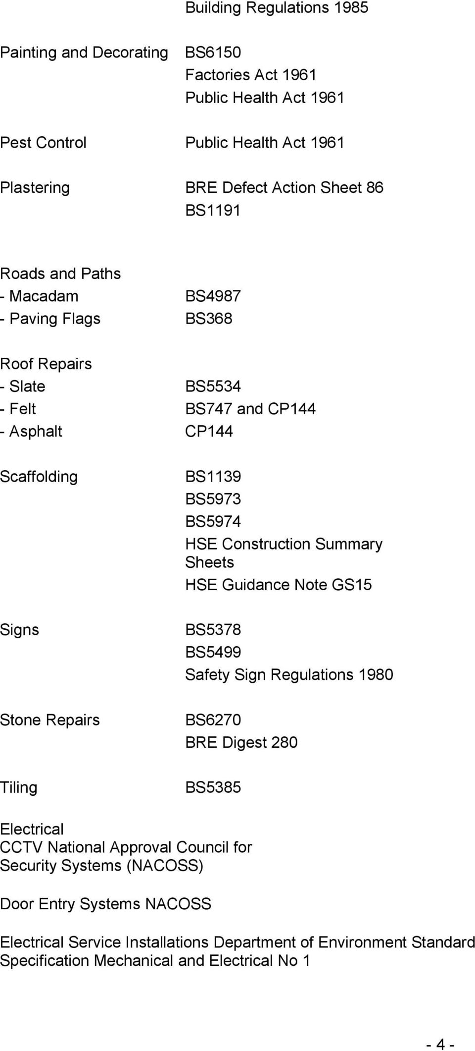 BS5973 BS5974 HSE Construction Summary Sheets HSE Guidance Note GS15 BS5378 BS5499 Safety Sign Regulations 1980 BS6270 BRE Digest 280 BS5385 Electrical CCTV National Approval