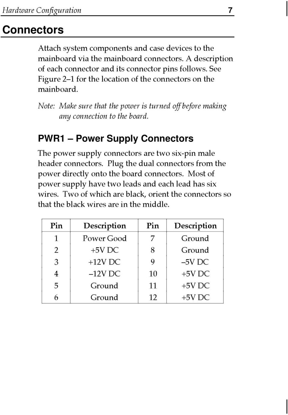PWR Power Supply Connectors The power supply connectors are two six-pin male header connectors. Plug the dual connectors from the power directly onto the board connectors.