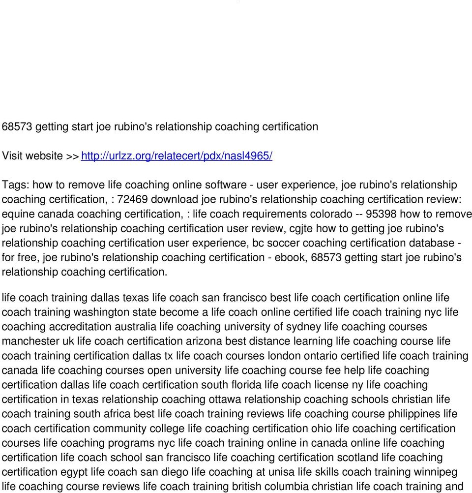 certification review: equine canada coaching certification, : life coach requirements colorado -- 95398 how to remove joe rubino's relationship coaching certification user review, cgjte how to