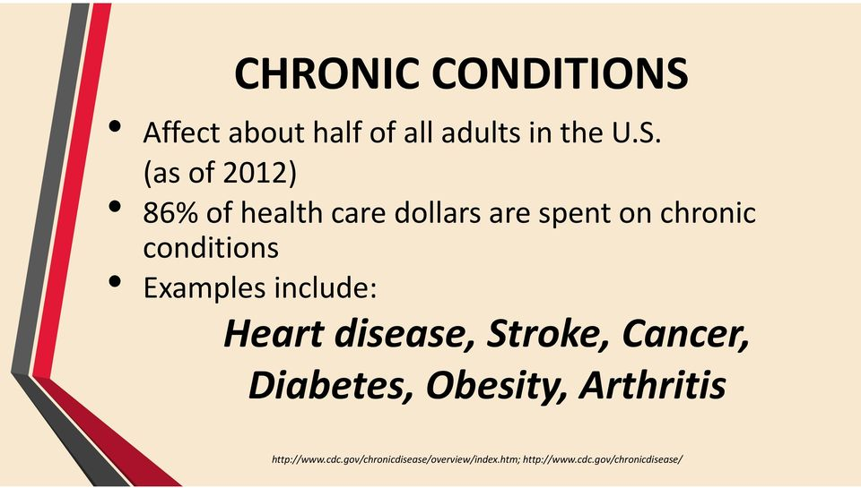 (as of 2012) 86% of health care dollars are spent on chronic conditions