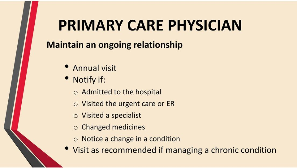 care or ER o Visited a specialist o Changed medicines o Notice a