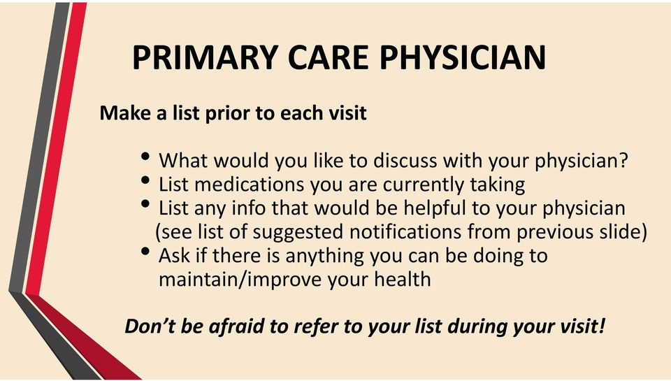 List medications you are currently taking List any info that would be helpful to your physician