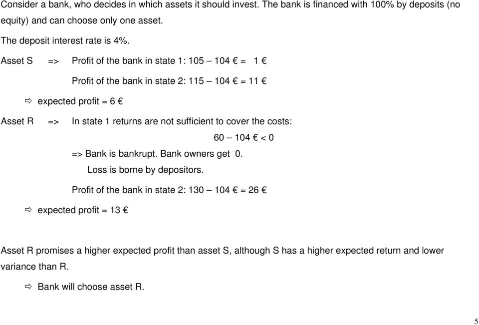 Asset S => Profit of the bank in state 1: 105 104 = 1 Profit of the bank in state 2: 115 104 = 11 expected profit = 6 Asset R => In state 1 returns are not