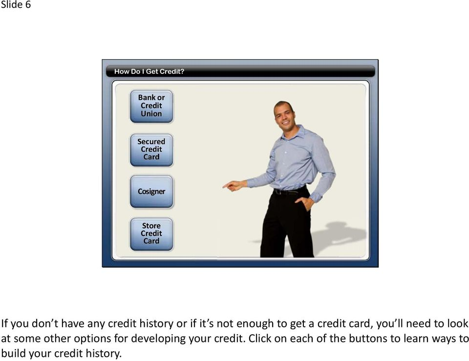 t have any credit history or if it s not enough to get a credit card, you ll
