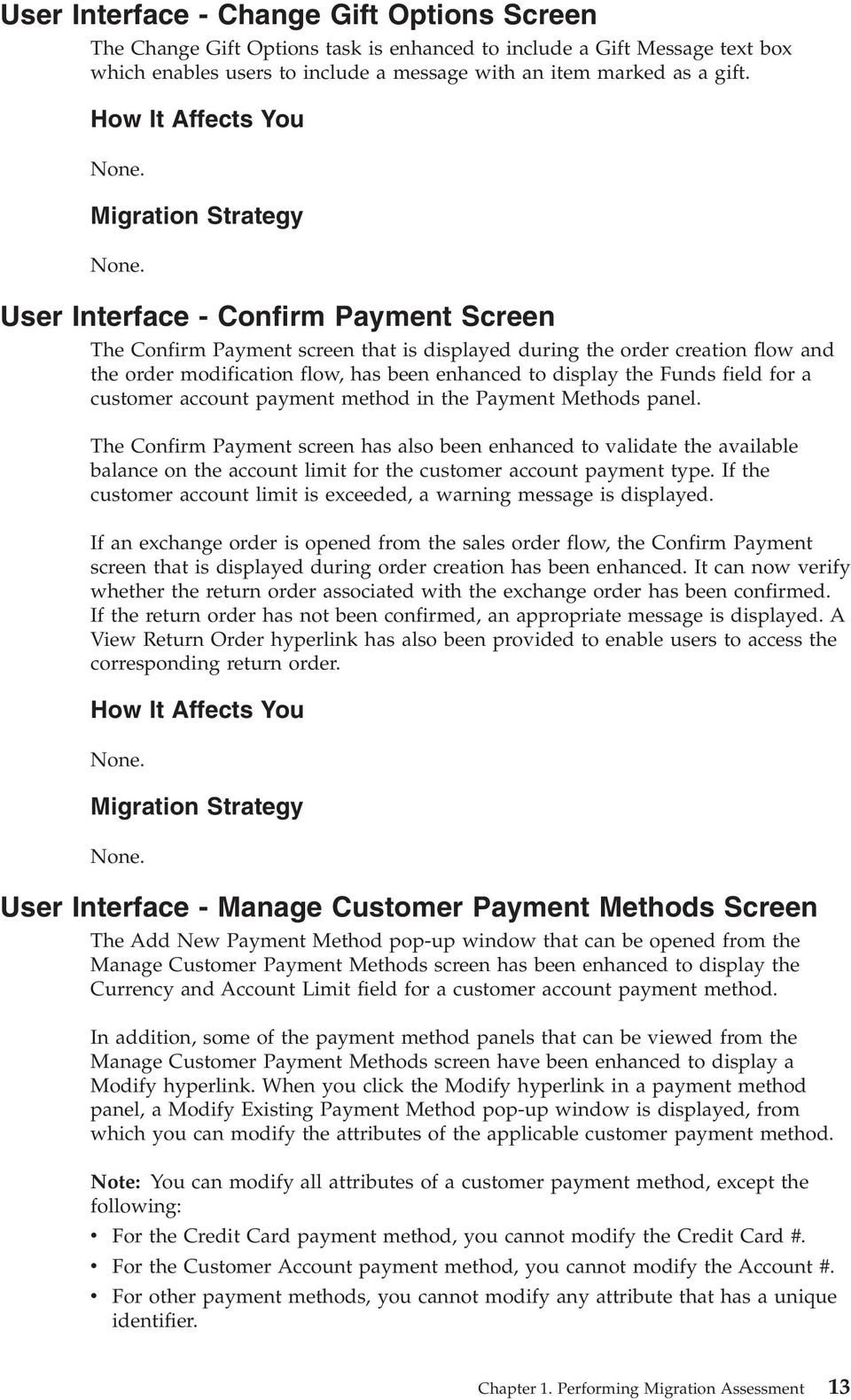 customer account payment method in the Payment Methods panel.