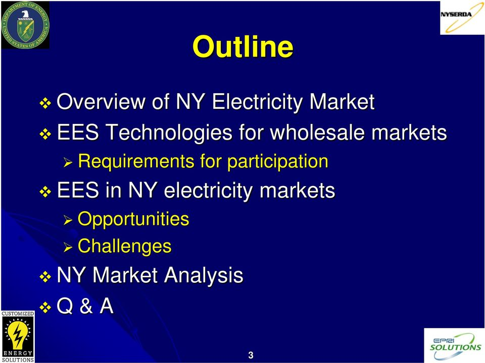 for participation EES in NY electricity markets