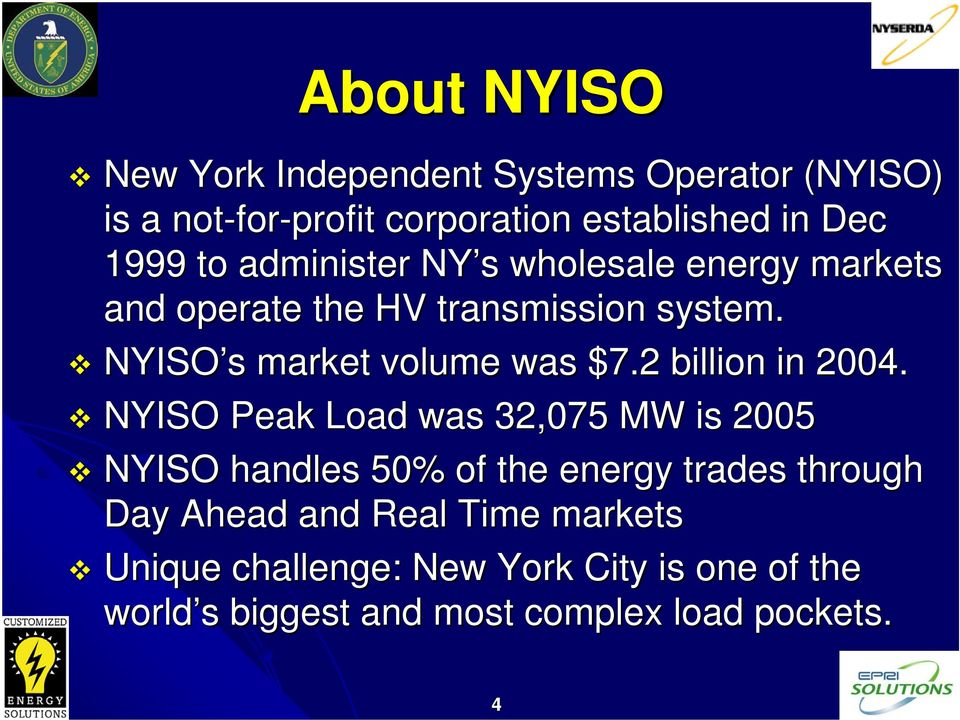 NYISO s s market volume was $7.2 billion in 2004.