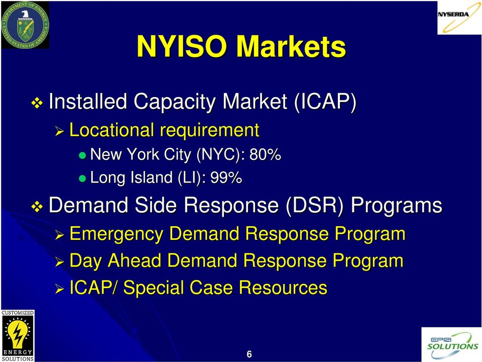 Demand Side Response (DSR) Programs Emergency Demand Response