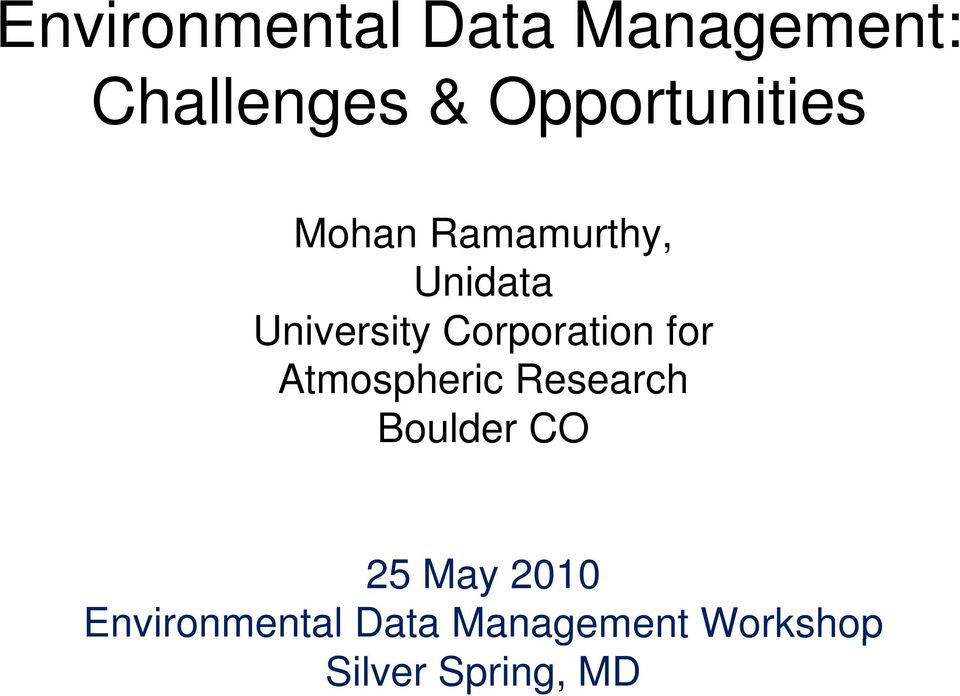 Corporation for Atmospheric Research Boulder CO 25