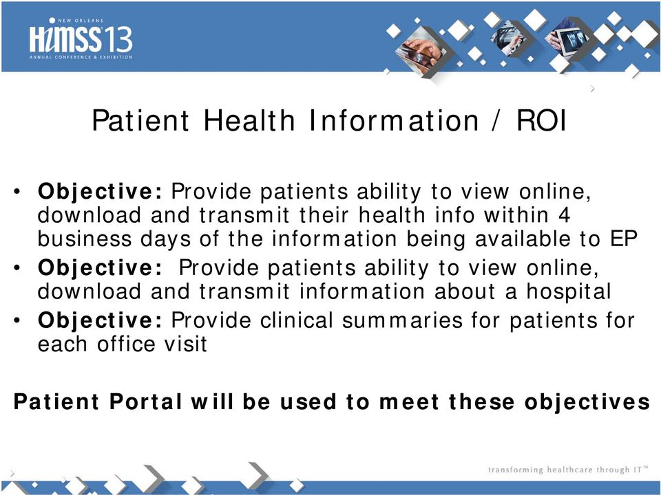 Provide patients ability to view online, download and transmit information about a hospital Objective: