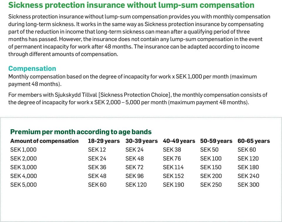 However, the insurance does not contain any lump-sum compensation in the event of permanent incapacity for work after 48 months.