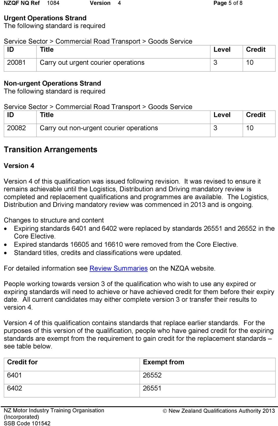 Arrangements Version 4 Version 4 of this qualification was issued following revision.