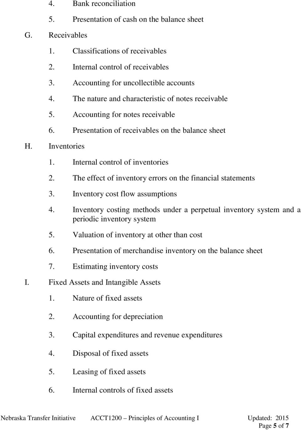 The effect of inventory errors on the financial statements 3. Inventory cost flow assumptions 4. Inventory costing methods under a perpetual inventory system and a periodic inventory system 5.
