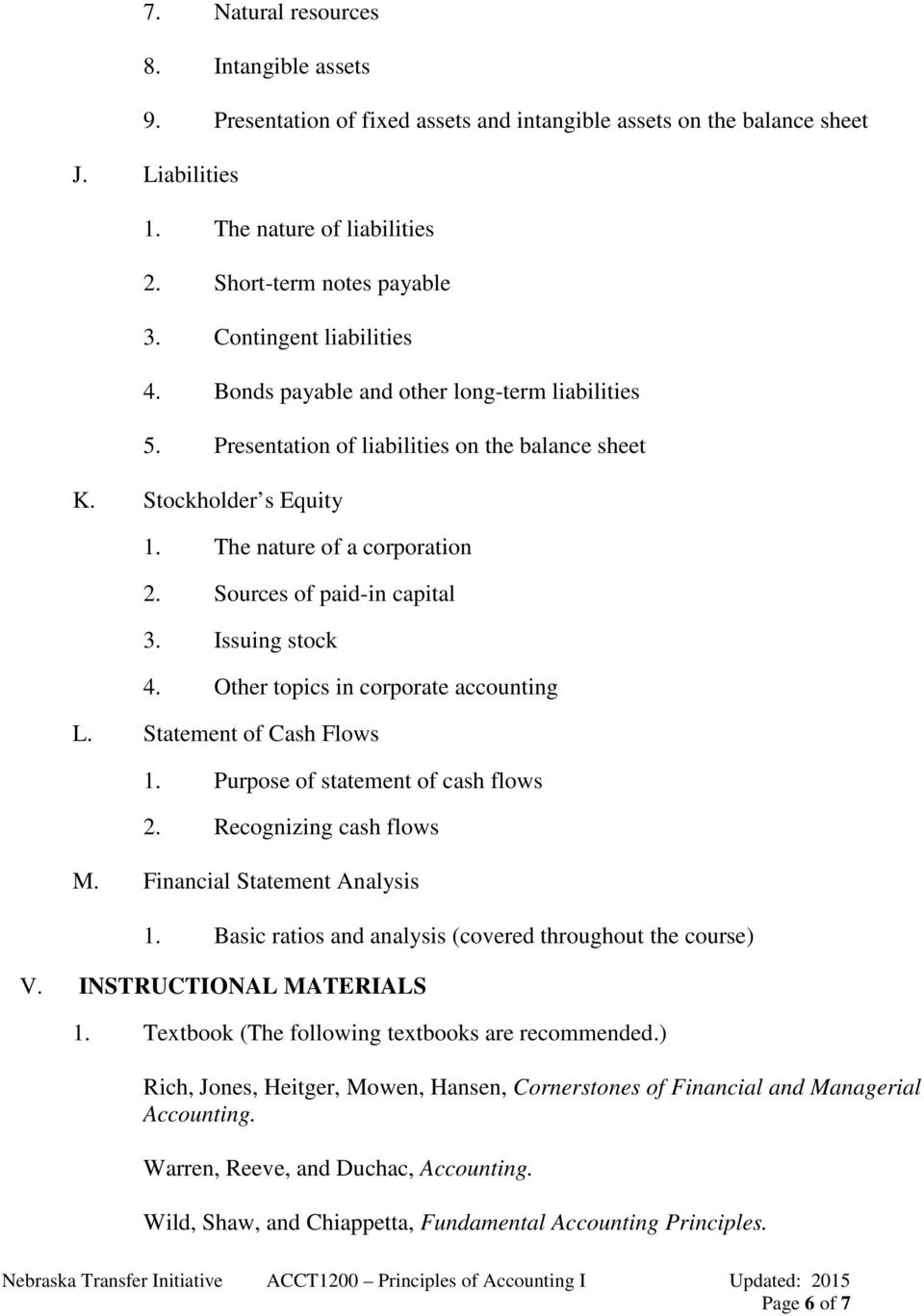 Sources of paid-in capital 3. Issuing stock 4. Other topics in corporate accounting L. Statement of Cash Flows 1. Purpose of statement of cash flows 2. Recognizing cash flows M.