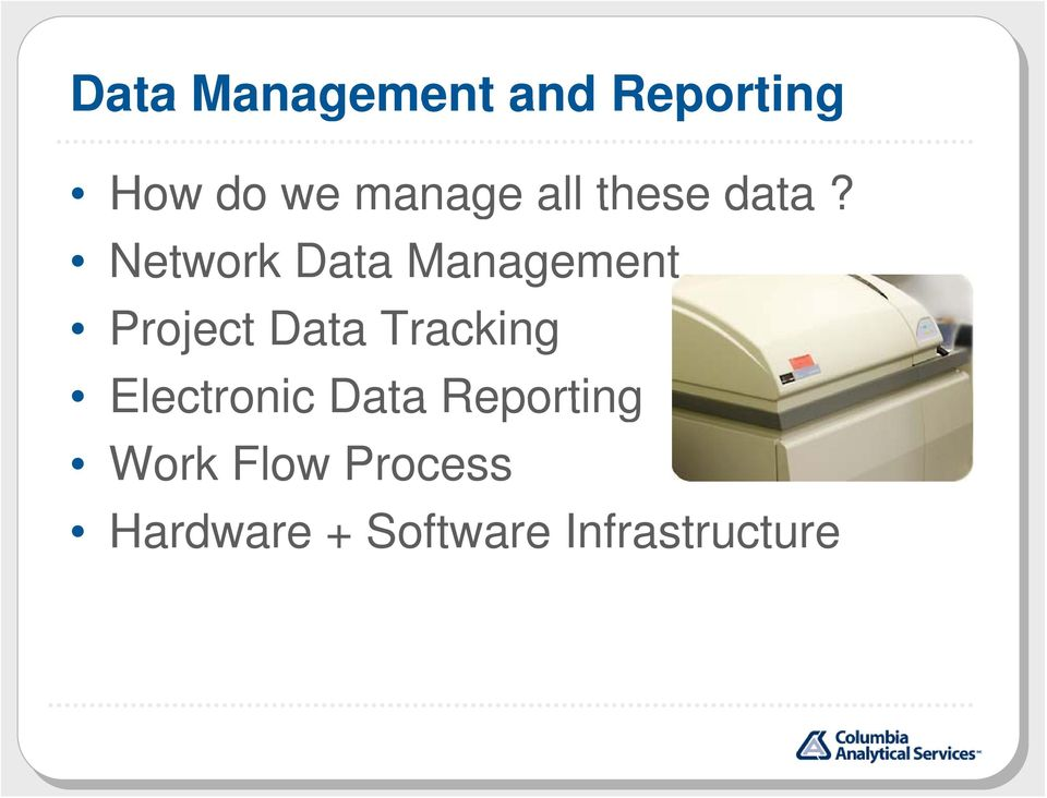 Network Data Management Project Data Tracking