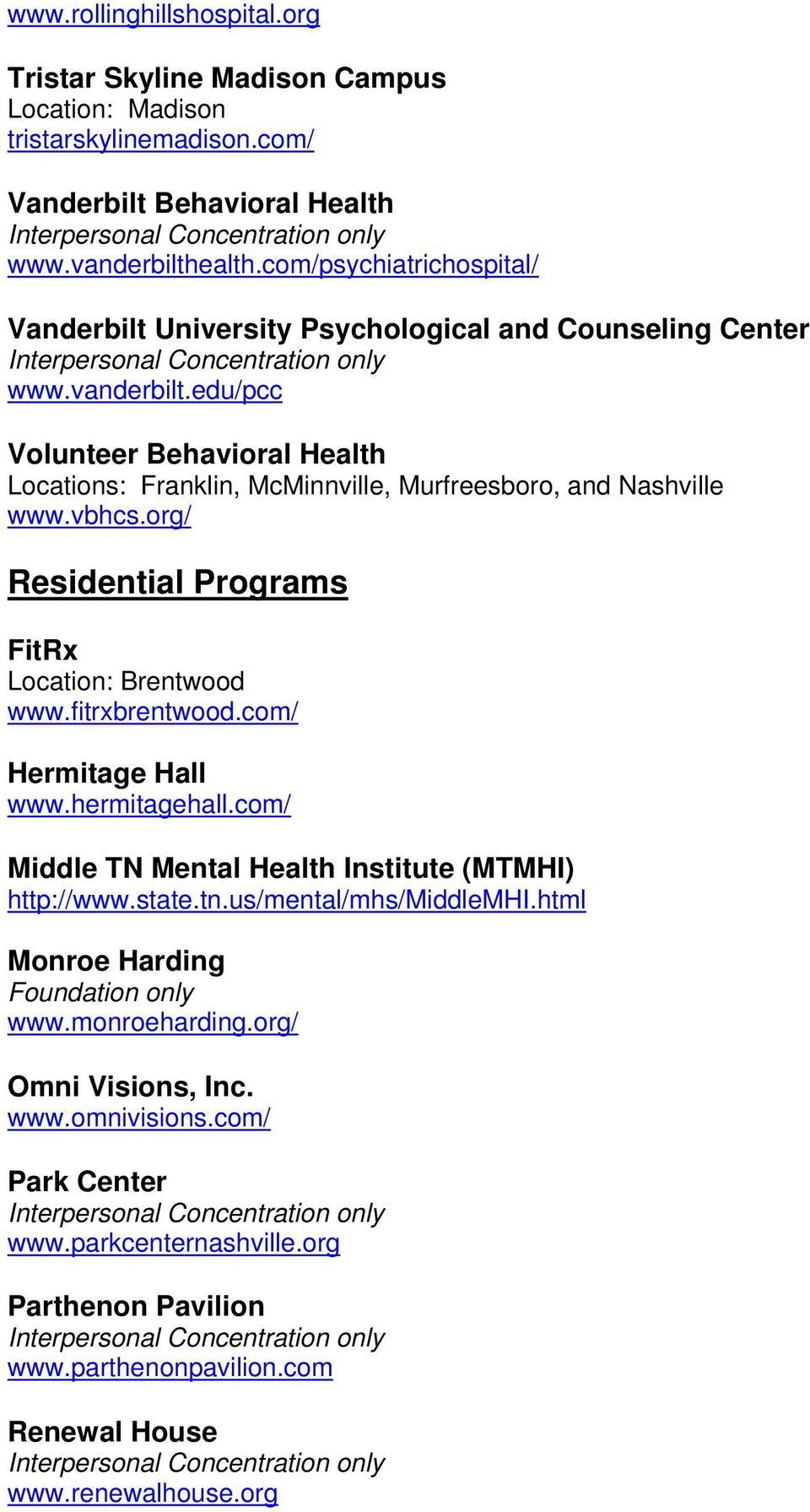 edu/pcc Volunteer Behavioral Health Locations: Franklin, McMinnville, Murfreesboro, and Nashville www.vbhcs.org/ Residential Programs FitRx Location: Brentwood www.fitrxbrentwood.