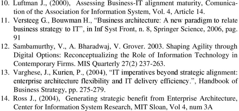 Shaping Agility through Digital Options: Reconceptualizing the Role of Information Technology in Contemporary Firms. MIS Quarterly 27(2) 237-263. 13. Varghese, J., Kurien, P.