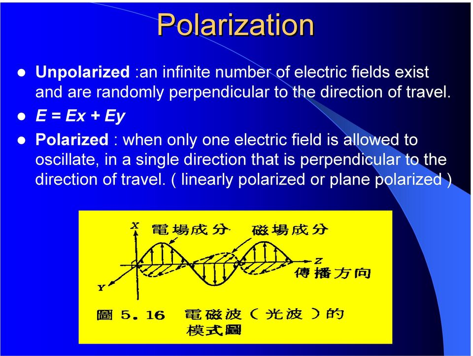 E = Ex + Ey Polarized : when only one electric field is allowed to oscillate,