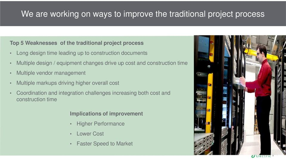 time Multiple vendor management Multiple markups driving higher overall cost Coordination and integration challenges