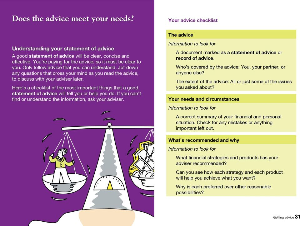 Here s a checkist of the most important things that a good statement of advice wi te you or hep you do. If you can t find or understand the information, ask your adviser.