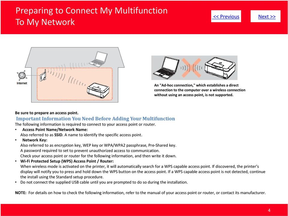 Important Information You Need Before Adding Your Multifunction The following information is required to connect to your access point or router.