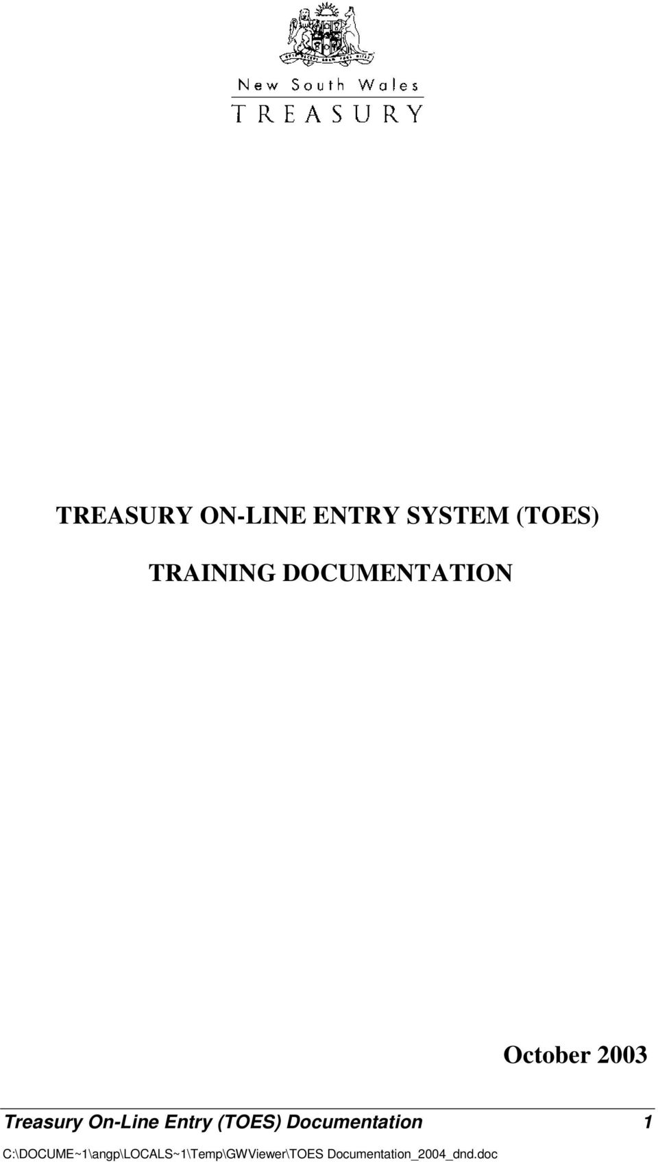 October 2003 Treasury On-Line