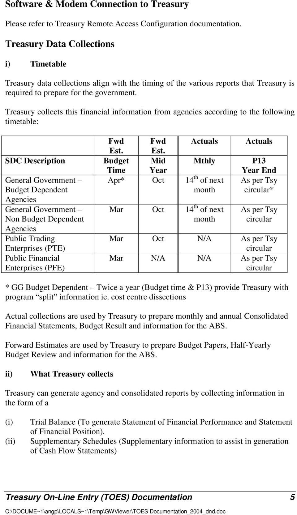 Treasury collects this financial information from agencies according to the following timetable: SDC Description General Government Budget Dependent Agencies General Government Non Budget Dependent