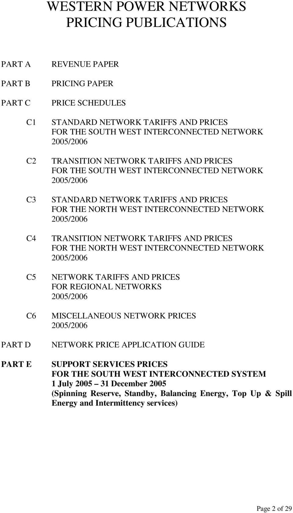 NETWORK 2005/2006 TRANSITION NETWORK TARIFFS AND PRICES FOR THE NORTH WEST INTERCONNECTED NETWORK 2005/2006 NETWORK TARIFFS AND PRICES FOR REGIONAL NETWORKS 2005/2006 MISCELLANEOUS NETWORK PRICES