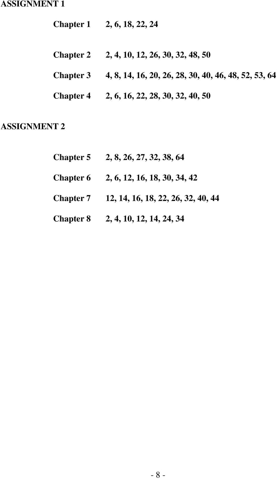 28, 30, 32, 40, 50 ASSIGNMENT 2 Chapter 5 2, 8, 26, 27, 32, 38, 64 Chapter 6 2, 6, 12,