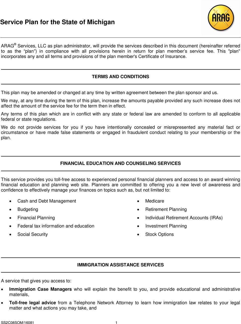 Group Legal Insurance Certificate of Insurance and Service Plan - PDF