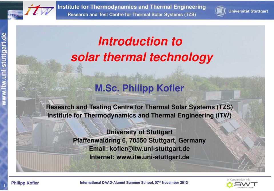 for Thermodynamics and Thermal Engineering (ITW) University of