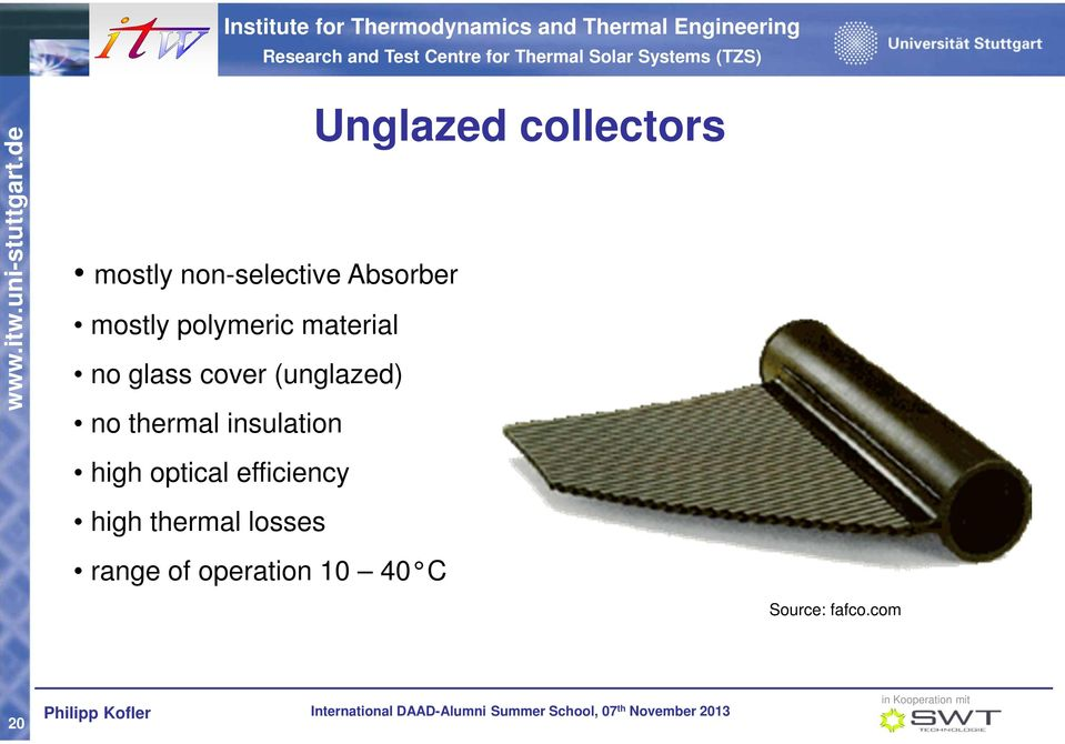 insulation Unglazed collectors high optical