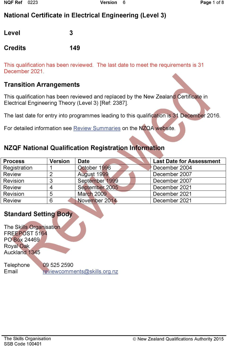 Transition Arrangements This qualification has been reviewed and replaced by the New Zealand Certificate in Electrical Engineering Theory (Level 3) [Ref: 2387].